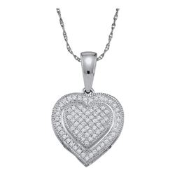 0.15 CTW Diamond Layered Heart Cluster Pendant 10KT White Gold - REF-14M9H
