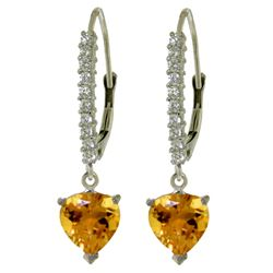 Genuine 3.55 ctw Citrine & Diamond Earrings Jewelry 14KT White Gold - REF-62A2K