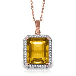 Genuine 5.4 ctw Citrine & Diamond Necklace Jewelry 14KT Rose Gold - REF-70Z5N