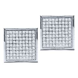 0.05 CTW Diamond Square Cluster Stud Earrings 10KT White Gold - REF-4H5M