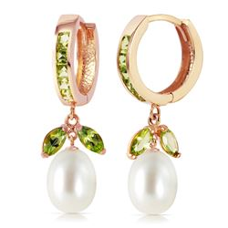 Genuine 10.30 ctw Peridot & Pearl Earrings Jewelry 14KT Rose Gold - REF-56T7A