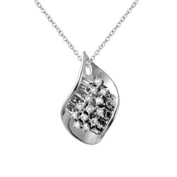 0.30 CTW Diamond Pendant 14K White Gold - REF-43X3R