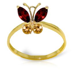 Genuine 0.60 ctw Garnet & Citrine Ring Jewelry 14KT Yellow Gold - REF-28X9M