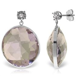 Genuine 36.06 ctw Amethyst & Diamond Earrings Jewelry 14KT White Gold - REF-87T5A