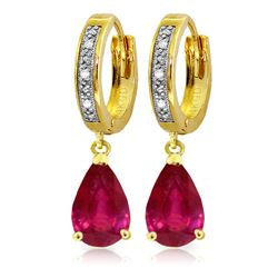 Genuine 3.53 ctw Ruby & Diamond Earrings Jewelry 14KT Yellow Gold - REF-77F2Z