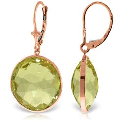 Genuine 34 ctw Quartz Lemon Earrings Jewelry 14KT Rose Gold - REF-58N2R