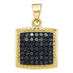 0.50 CTW Black Color Diamond Square Cluster Pendant 10KT Yellow Gold - REF-24N2F