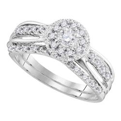 0.31 CTW Diamond Halo Bridal Engagement Ring 10KT White Gold - REF-52F4N