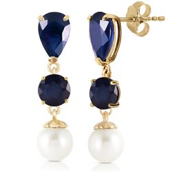 Genuine 10.10 ctw Sapphire & Pearl Earrings Jewelry 14KT Yellow Gold - REF-58F7Z