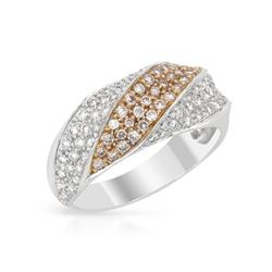 0.80 CTW Diamond Band Ring 18K 2Tone Gold - REF-77F6N