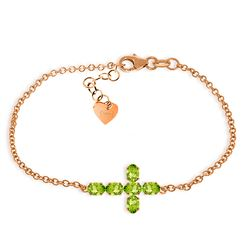 Genuine 1.70 ctw Peridot Bracelet Jewelry 14KT Rose Gold - REF-59N8R