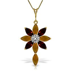 Genuine 2.0 ctw Citrine, Garnet & Diamond Necklace Jewelry 14KT Yellow Gold - REF-47M4T