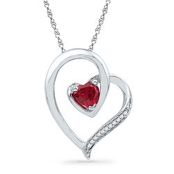 0.03 CTW Created Ruby Heart Love Pendant 10KT White Gold - REF-10F5N