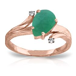 Genuine 1.01 ctw Emerald & Diamond Ring Jewelry 14KT Rose Gold - REF-56W2Y