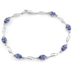 Genuine 3.01 ctw Tanzanite & Diamond Bracelet Jewelry 14KT White Gold - REF-115N3R
