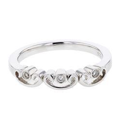 0.04 CTW Diamond Ring 18K White Gold - REF-28K8W