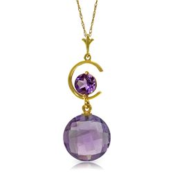 Genuine 5.8 ctw Amethyst Necklace Jewelry 14KT Yellow Gold - REF-25N9R