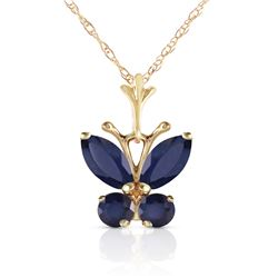 Genuine 0.60 ctw Sapphire Necklace Jewelry 14KT Yellow Gold - REF-28R2P