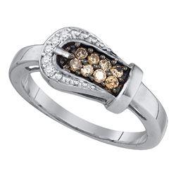 0.24 CTW Cognac-brown Color Diamond Belt Buckle Ring 10KT White Gold - REF-22W4K