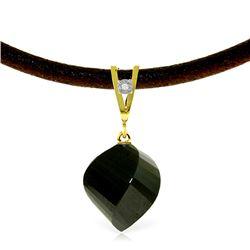 Genuine 15.51 ctw Black Spinel & Diamond Necklace Jewelry 14KT Yellow Gold - REF-39K2V