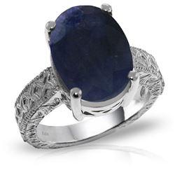 Genuine 8.5 ctw Sapphire Ring Jewelry 14KT White Gold - REF-168R3P