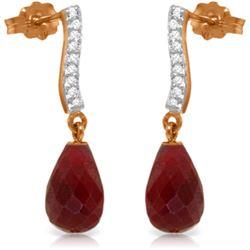 Genuine 6.88 ctw Ruby & Diamond Earrings Jewelry 14KT Rose Gold - REF-47T3A