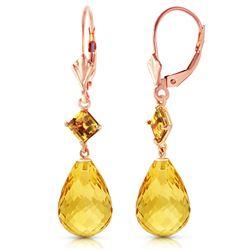 Genuine 11 ctw Citrine Earrings Jewelry 14KT Rose Gold - REF-39A3K
