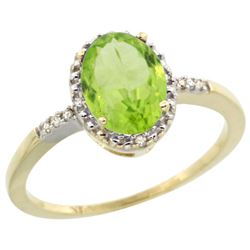 Natural 1.39 ctw Peridot & Diamond Engagement Ring 14K Yellow Gold - REF-23V7F