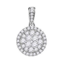 0.50 CTW Diamond Circle Cluster Pendant 14KT White Gold - REF-47M9H
