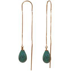 Genuine 6.6 ctw Green Sapphire Corundum Earrings Jewelry 14KT Rose Gold - REF-20V8W
