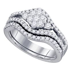 0.75 CTW Diamond Flower Cluster Bridal Engagement Ring 10KT White Gold - REF-71Y9X
