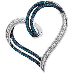 0.22 CTW Blue Color Diamond Heart Outline Pendant 10KT White Gold - REF-24K2W