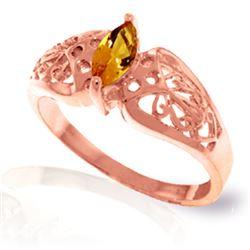 Genuine 0.20 CTW Citrine Ring Jewelry 14KT Rose Gold - REF-47X2M