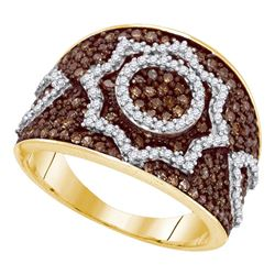 1 CTW Brown Color Diamond Starburst Fashion Ring 10KT Yellow Gold - REF-52W4K