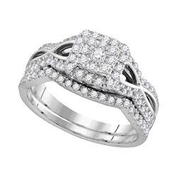 0.60 CTW Diamond Split-shank Halo Bridal Engagement Ring 14KT White Gold - REF-59F9N