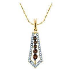 0.50 CTW Cognac-brown Color Diamond Vertical Journey Pendant 14KT Yellow Gold - REF-40F4N