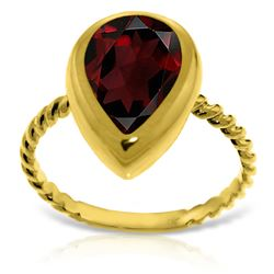 Genuine 3.5 ctw Garnet Ring Jewelry 14KT Yellow Gold - REF-43H6X