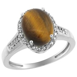 Natural 2.49 ctw Tiger-eye & Diamond Engagement Ring 10K White Gold - REF-29K4R
