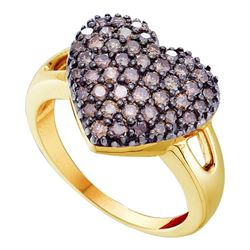 1 CTW Cognac-brown Color Diamond Heart Cluster Ring 14KT Yellow Gold - REF-59Y9X