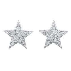 0.25 CTW Diamond Star Cluster Stud Earrings 10KT White Gold - REF-24K2W