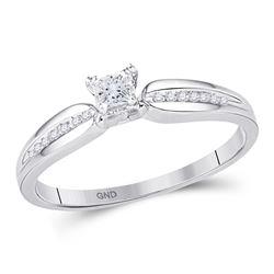 0.16 CTW Princess Diamond Solitaire Promise Bridal Ring 10KT White Gold - REF-18K2W