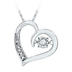 0.04 CTW Diamond Heart Love Twinkle Moving Pendant 10KT White Gold - REF-12K8W