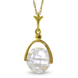 Genuine 3.65 ctw White Topaz Necklace Jewelry 14KT Yellow Gold - REF-22P3H