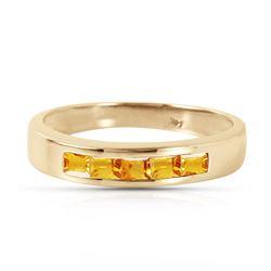 Genuine 0.60 ctw Citrine Ring Jewelry 14KT Yellow Gold - REF-46K2V
