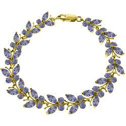 Genuine 7.8 ctw Tanzanite Bracelet Jewelry 14KT Yellow Gold - REF-228R7P