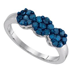 0.75 CTW Blue Color Diamond Cluster Ring 10KT White Gold - REF-30H2M