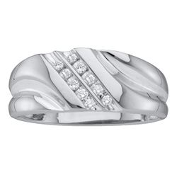 0.12 CTW Mens Diamond 2-row Wedding Anniversary Ring 10KT White Gold - REF-14W9K