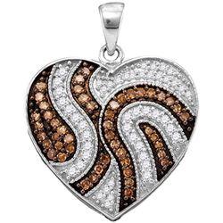 0.50 CTW Cognac-brown Color Diamond Heart Pendant 10KT White Gold - REF-30H2M