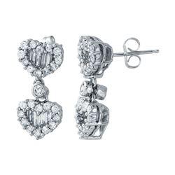 2.45 CTW Diamond Earrings 14K White Gold - REF-243W2H