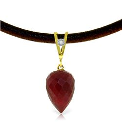 Genuine 13.01 ctw Ruby & Diamond Necklace Jewelry 14KT Yellow Gold - REF-42X4M